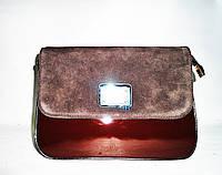 Женская модная сумка коричневого цвета из натурального замша