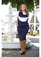 Женское платье на каждый день Гиацинт цвет темно синий  до 72 размера
