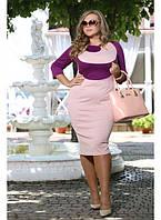Женское платье на каждый день Гиацинт цвет пудра  до 72 размера