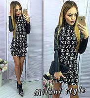 Платье с кожаными рукавами CK