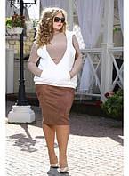 Женская юбка Ольга цвет  шоколад до 72 размера