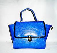 Привлекательная женская сумка синего цвета из искусственной кожи трапеция FDB-8965439