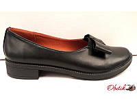 Туфли женские кожа/замша на низкой подошве чёрные Uk0326