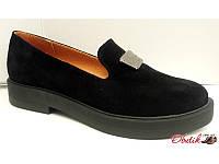 Туфли женские натуральная замша на низкой подошве чёрные Uk0328