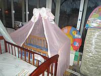 Балдахин на детскую кроватку розовый с бантом Б.У.