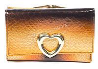 Стильный небольшой лаковый женский кожаный кошелек art. V690-29 золотой с переливом