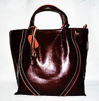 Удобная женская классическая кожаная сумка коричневого цвета GFY-526790