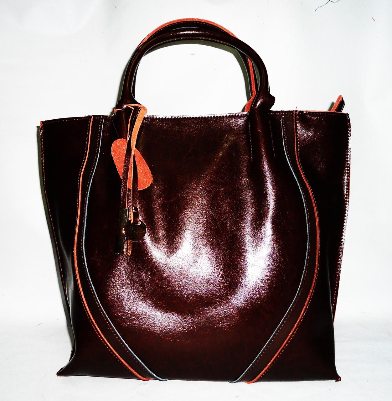 722bcfe15103 Удобная женская классическая кожаная сумка коричневого цвета GFY-526790 -  Интернет- магазин