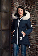 Темно-синяя зимняя куртка с капюшоном ANGELIKA 42 размер