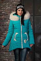 Бирюзовая зимняя куртка с натуральным мехом ANGELIKA 42-52 размеры