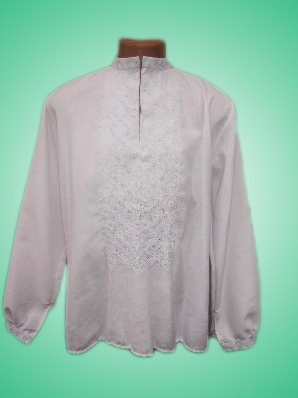 Чоловіча вишита сорочка з білосніжним узором (Мужская вышитая рубашка с  белоснежным узором) SN- 79ad76fc31b7e