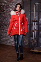 Зимняя куртка красная ANGELIKA 42-52 размеры