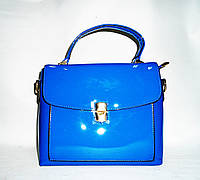 Яркая женская сумка голубой лак из искусcтвенной кожи FDK-657655