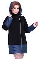 Пальто комбинированное на молнии, с капюшоном