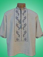 Чоловіча вишита сорочка з сірим узором (Мужская вышитая рубашка с серым узором) SN-0004