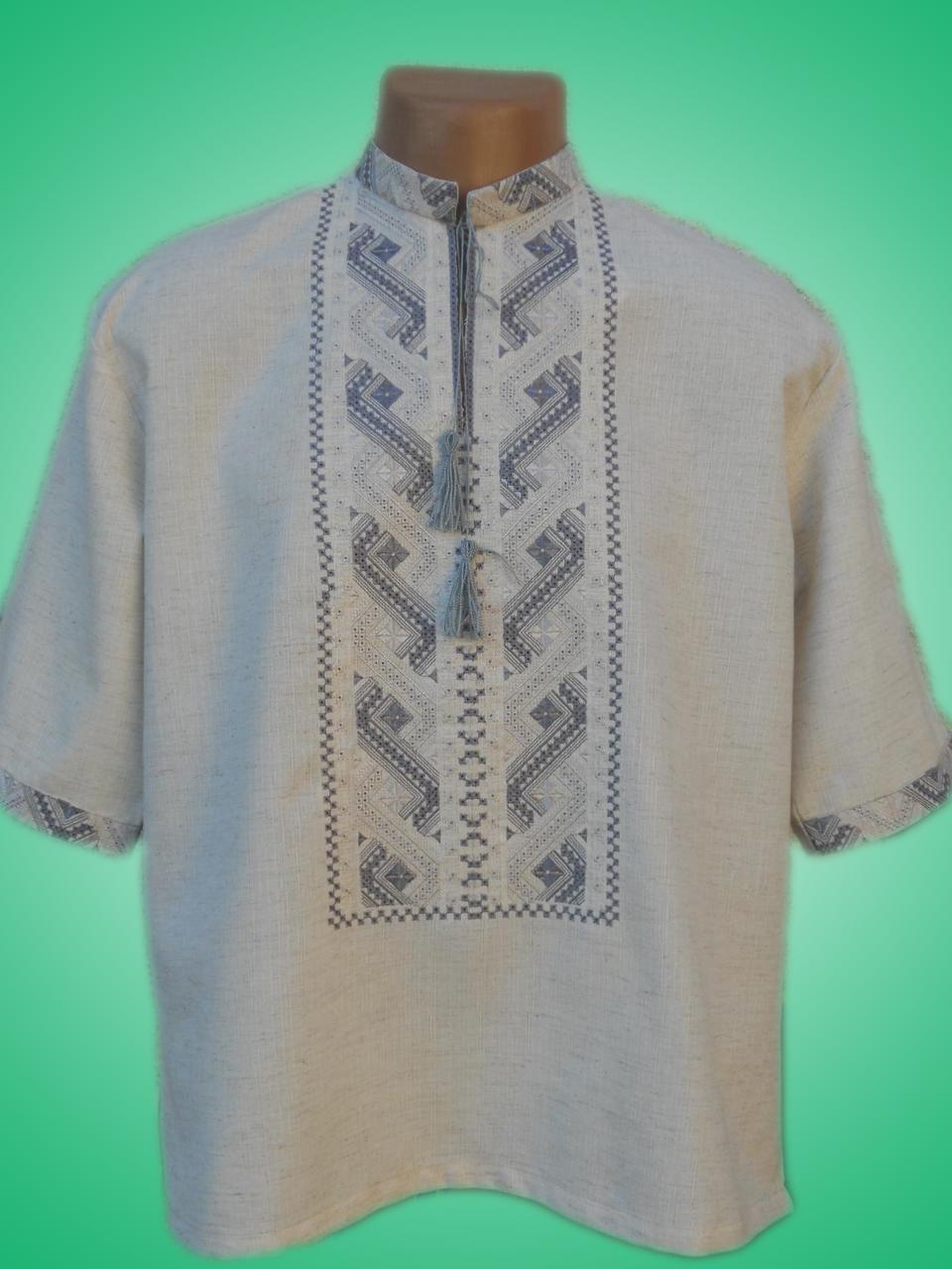 Чоловіча вишита сорочка з сірим узором (Мужская вышитая рубашка с серым  узором) SN-0004 b7d346cb58cee