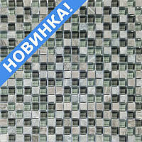 Мозаика серая камень со стеклом Vivacer DAF19