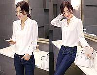 Рубашка (блузка) женская белая шифоновая