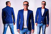 Мужской пиджак Синева с темными латками на локтях