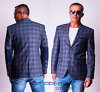 Мужской пиджак Ретро с лактками на локтях серая клетка