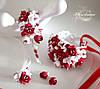 """Комплект авторских украшений """"Бело-красные фрезии"""" (браслет+серьги+заколка+кулон))"""""""