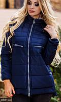 Асимметричная женская куртка прямого фасона на молнии с капюшоном холлофайбер батал