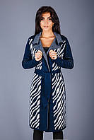 Кардиган-пальто с контрастным геометрическим узором
