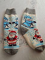 Теплые ангоровые носки с дедом морозом женские
