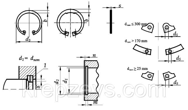 Чертеж кольца DIN 472