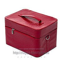 Кейс для мастера парикмахера, маникюра, визажиста, вместительный, большой красный лаковый