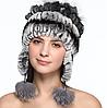 Зимняя женская шапка из меха кролика рекс и чернобурки
