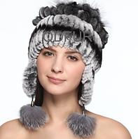 Зимняя женская шапка из меха кролика рекс и чернобурки, фото 1