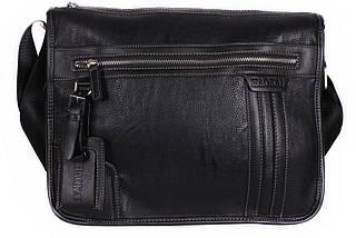 Мужская сумка из экокожи через плечо формата А4 черная