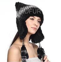 Зимняя женская шапка из меха кролика рекс