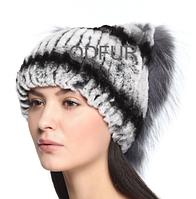 Зимняя женская шапка из меха кролика рекс и чернобурки 4655ac21ee67d