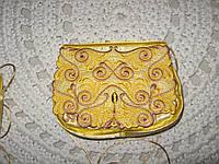 Клатч золотой, ажурный/Сумочка золотая, кружевная вышитая гладью.