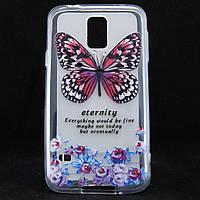"""Чехол-накладка для Samsung Galaxy S5, G900, """"Butterfly with flowers"""", со стразами, силиконовый /case/кейс /самсунг галакси"""
