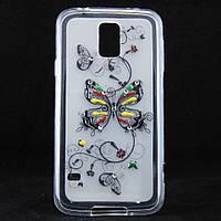 """Чехол-накладка для Samsung Galaxy S5, G900, """"Butterfly"""", со стразами, силиконовый /case/кейс /самсунг галакси"""