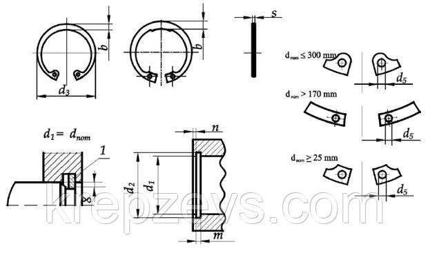 чертеж кольца стопорного М225 DIN 472, ГОСТ 13943-86