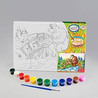 Набор для творчества Роспись на холсте 21*31см. с.1 Рыбалка2 , Danko Toys, РХ-01-06|в упаковке-12штук, разные|