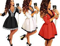 Платье женское короткое пышное с кружевом красивое нарядное