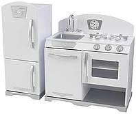 KidKraft Игровой набор белая Ретро кухня с холодильником White Retro Kitchen & Refrigerator Toy