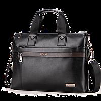 Кожаная мужская сумка Polo А4, два цвета Черный
