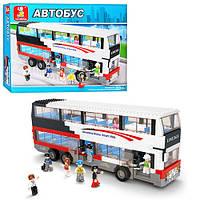 Конструктор SLUBAN M38-B0335 (6шт) двухэтажный автобус, фигурки, 741дет, в кор-ке, 57-38-9см