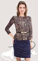 Трикотажное платье с баской Бритни леопард