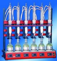 6-позиционная установка для экстракции по Сокслету, объем экстракторов (со сливным краном) – 100 мл, объем круглодонных колб – 250 мл