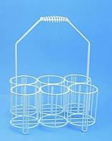 Корзина для бутылок. Из проволоки, покрытой полиэтиленом. Длябутылей 6 x 250 мл Внутреннийдиаметр 80 мм Высота 80 мм