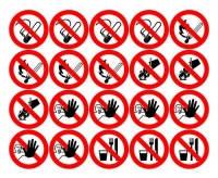 Запрещающие знаки Тип Лист с мини-символами Диаметр 20 мм