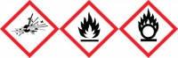 Предупреждающие знаки (СГС) Тип GHS 01 Описание Внимание Символ Взрыв баллона Размеры 26 x 37 мм