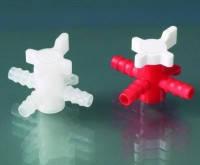 Кран 3-ходовой LaboPlast® Для шланговс внутренним диаметром 5 до 7 мм Внутр.диаметр 4 мм Материал ПЭ/ПП